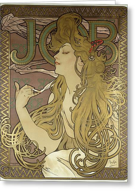Job, 1896 Colour Lithograph On Poster Paper, Framed Greeting Card by Alphonse Marie Mucha