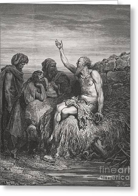 The Holy Bible Greeting Cards - Job and his Friends Greeting Card by Gustave Dore