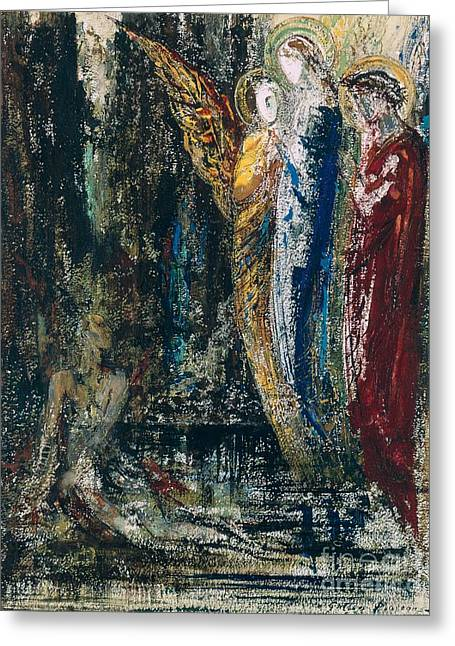 Job Greeting Cards - Job and the Angels Greeting Card by Gustave Moreau