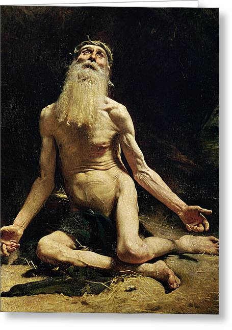 Impoverished Greeting Cards - Job Greeting Card by Leon Joseph Florentin Bonnat