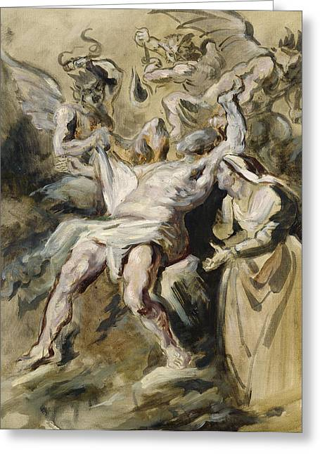 Job Greeting Cards - Job Tormented by the Demons Greeting Card by Ferdinand Victor Eugene Delacroix