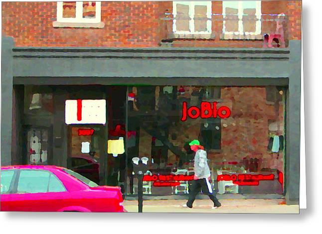 Hot Dog Joints Greeting Cards - Joblo Restaurant Steakhouse Rue Wellington Verdun Montreal Cafe City Scenes Carole Spandau Greeting Card by Carole Spandau