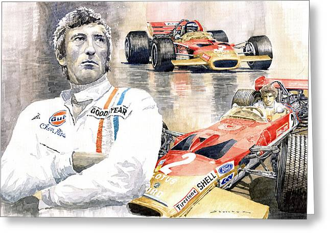 Lotus Leaves Greeting Cards - Jochen Rindt Golden Leaf Team Lotus Lotus 49b Lotus 49c Greeting Card by Yuriy  Shevchuk