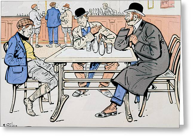 Conversing Paintings Greeting Cards - Jockey and trainers in the bar Greeting Card by Thelem