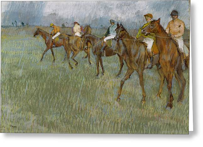 Jockey Greeting Cards - Jockeys In The Rain, C.1886 Greeting Card by Edgar Degas