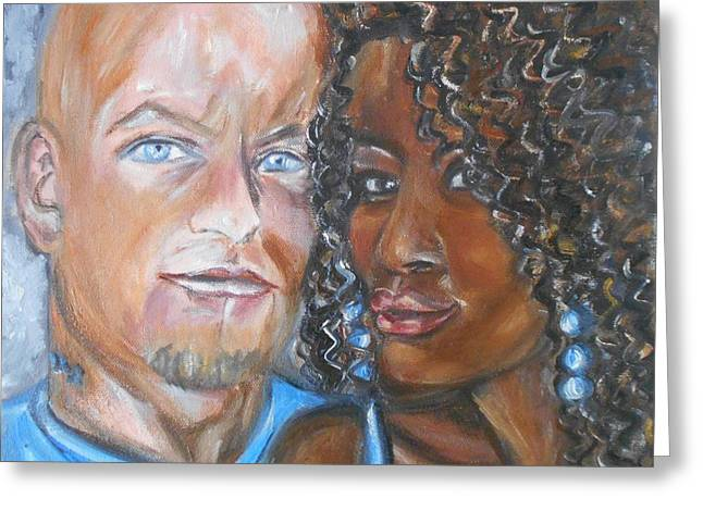 Interracial Love Greeting Cards - Joe and Jess Greeting Card by Yesi Casanova