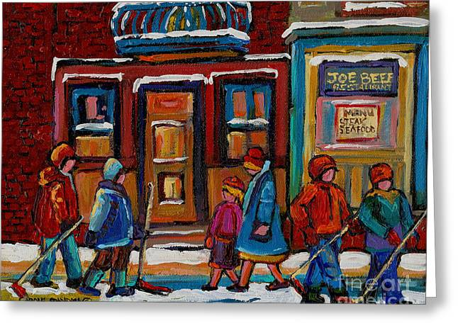 Verdun Restaurants Greeting Cards - Joe Beef Restaurant And Boys With Hockey Sticks Greeting Card by Carole Spandau