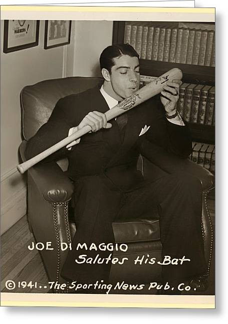 Joe Dimaggio Vintage Photo Greeting Cards - Joe DiMaggio and His Bat Greeting Card by Mountain Dreams