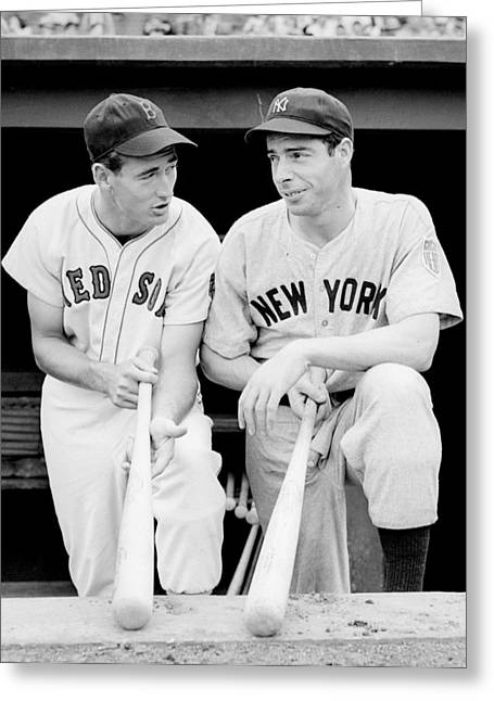 William Photographs Greeting Cards - Joe DiMaggio and Ted Williams Greeting Card by Gianfranco Weiss