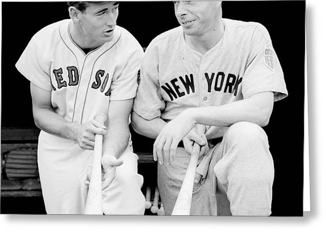 Joe DiMaggio and Ted Williams Greeting Card by Gianfranco Weiss