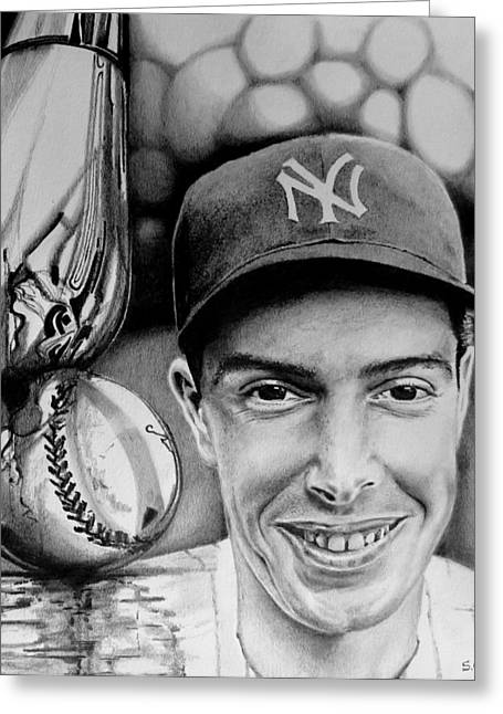 Baseball Bat Drawings Greeting Cards - Joe Dimaggio Greeting Card by Geni Gorani