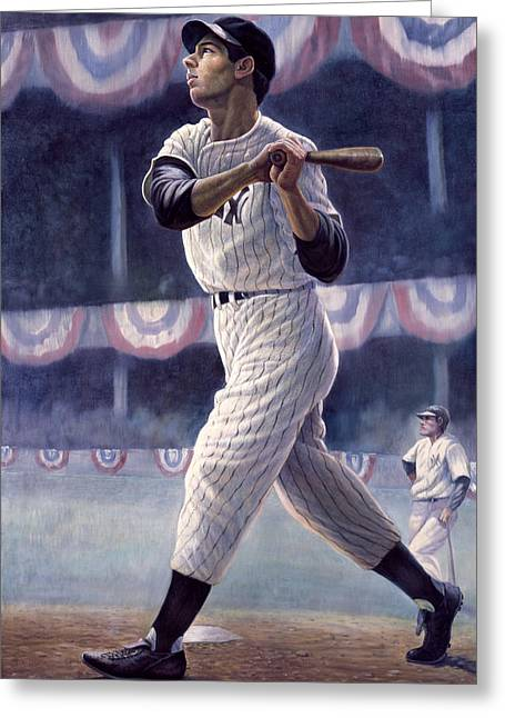 Baseball Game Greeting Cards - Joe DiMaggio Greeting Card by Gregory Perillo
