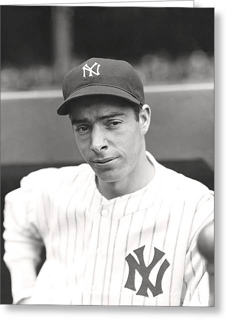 Dead Ball Era Greeting Cards - Joe Dimaggio Hand On Hip Greeting Card by Retro Images Archive