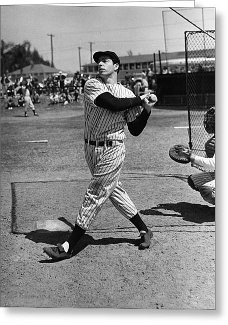 Dimaggio Greeting Cards - Joe DiMaggio hits a belter Greeting Card by Gianfranco Weiss
