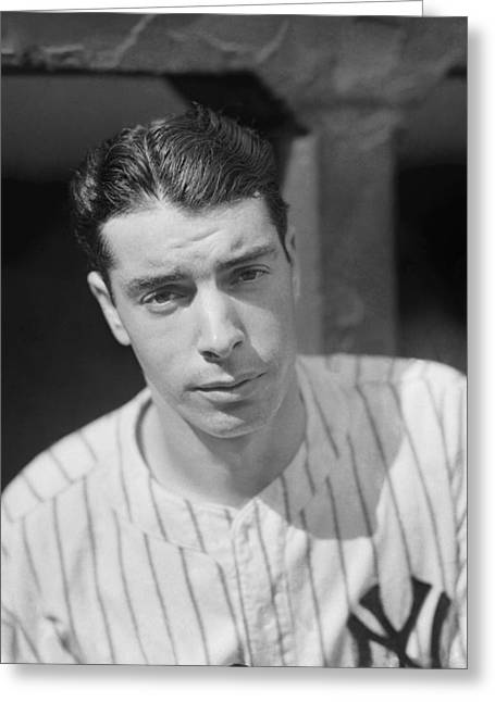 Famous Photographer Greeting Cards - Joe Dimaggio In Dugout Looking Forward Greeting Card by Retro Images Archive