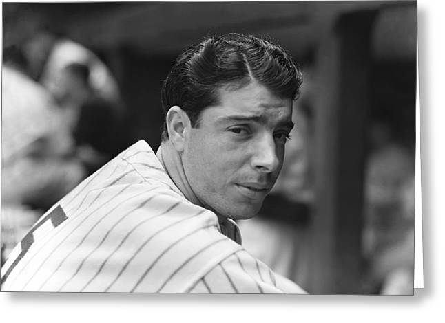 Historical Pictures Greeting Cards - Joe Dimaggio In Dugout Greeting Card by Retro Images Archive