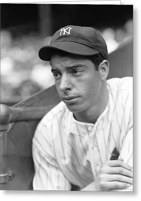Dimaggio Greeting Cards - Joe Dimaggio Leaning Greeting Card by Retro Images Archive