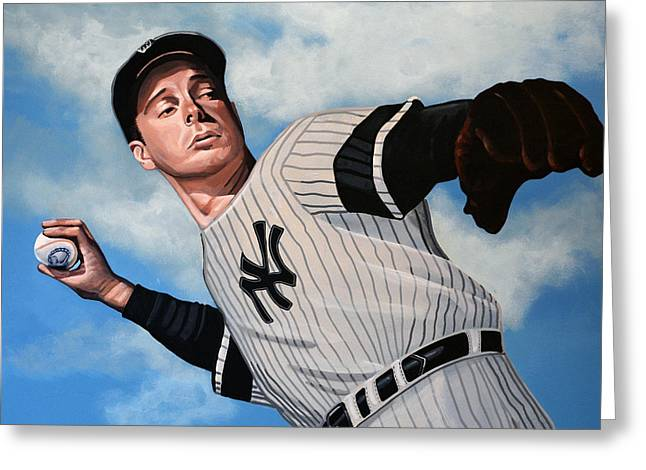 Baseball Paintings Greeting Cards - Joe DiMaggio Greeting Card by Paul Meijering