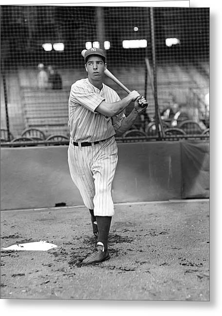 Hall Of Fame Greeting Cards - Joe Dimaggio Swinging Greeting Card by Retro Images Archive