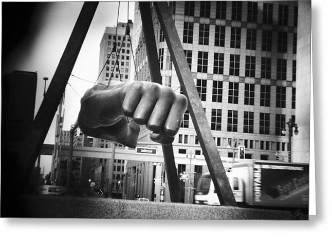 Detroit Tigers Digital Greeting Cards - Joe Louis Fist Statue in Monochrome Greeting Card by Gordon Dean II