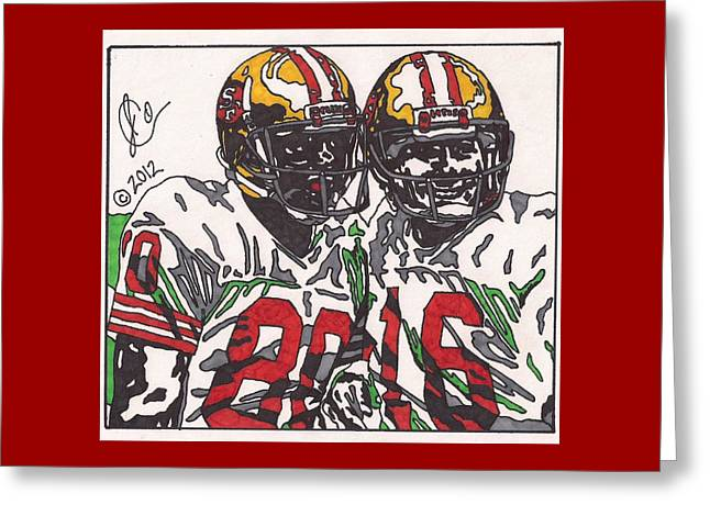 49ers Drawings Greeting Cards - Joe Montana and Jerry Rice Greeting Card by Jeremiah Colley