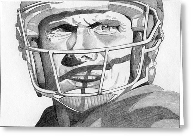 49ers Drawings Greeting Cards - Joe Montana Greeting Card by Brian Condron