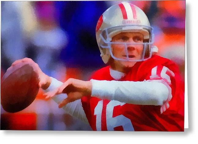 National Football League Paintings Greeting Cards - Joe Montana Greeting Card by Dan Sproul