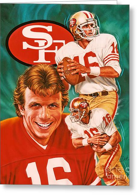 Celebrities Photographs Greeting Cards - Joe Montana Greeting Card by Dick Bobnick