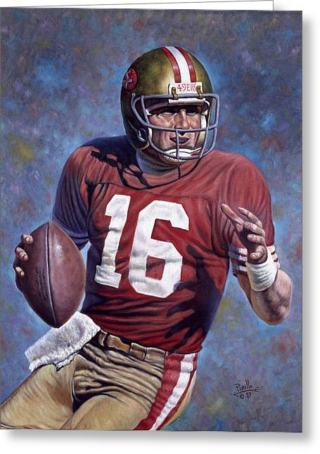 Nfl Mixed Media Greeting Cards - Joe Montana Greeting Card by Gregory Perillo