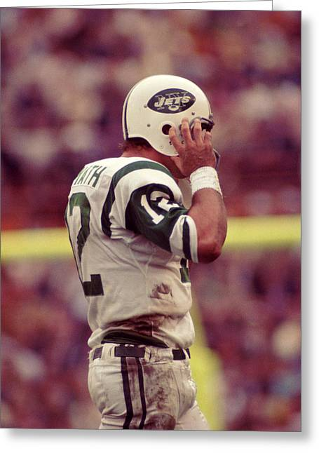 Sports Photography Greeting Cards - Joe Namath Fixing Helmet Greeting Card by Retro Images Archive