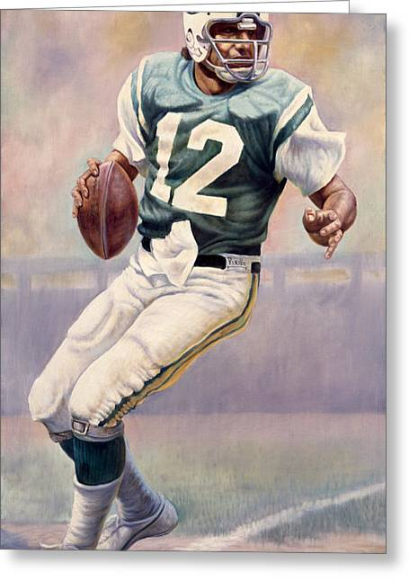 Authentic Greeting Cards - Joe Namath Greeting Card by Gregory Perillo
