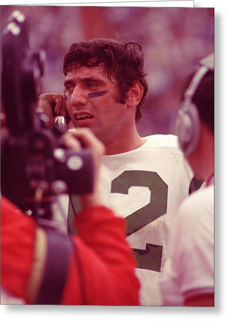 National Football League Greeting Cards - Joe Namath Talking It Over Greeting Card by Retro Images Archive