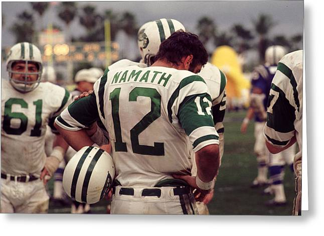 Sports Photography Greeting Cards - Joe Namath On Sideline Greeting Card by Retro Images Archive