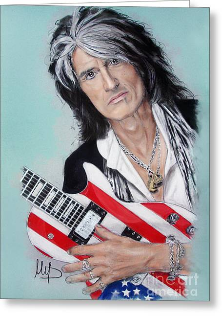 Vocal Greeting Cards - Joe Perry Greeting Card by Melanie D
