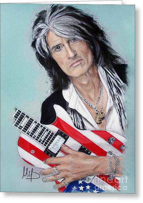 Bass Pastels Greeting Cards - Joe Perry Greeting Card by Melanie D
