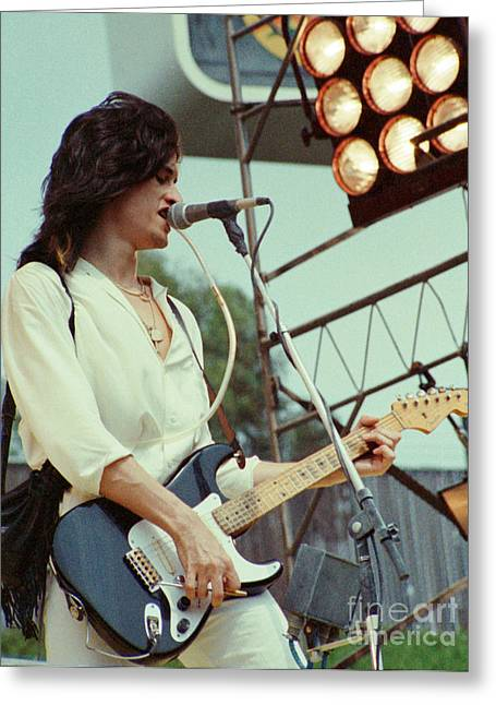 80s Greeting Cards - Joe Perry of Aerosmith at 1979 Monsters of Rock in Oakland Ca Greeting Card by Daniel Larsen