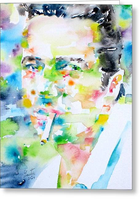 The Clash Greeting Cards - JOE STRUMMER - watercolor portrait Greeting Card by Fabrizio Cassetta