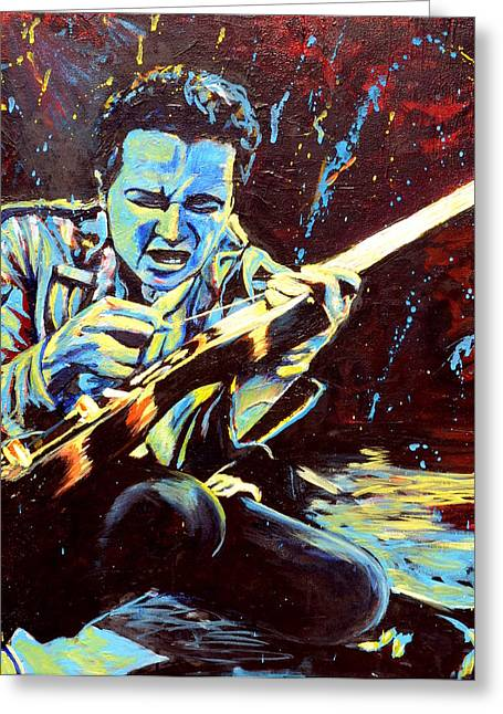 The Clash Greeting Cards - Joe Strummer with Fender Strat Greeting Card by Kat Richey