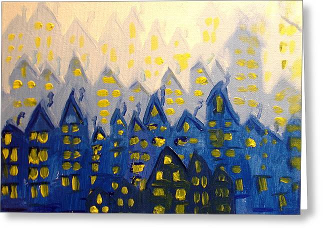New To Vintage Paintings Greeting Cards - Joes Blue City Greeting Card by Joseph Hawkins