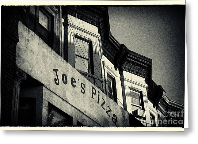 Filmnoir Greeting Cards - Joes Pizza Park Slope New York City Greeting Card by Sabine Jacobs