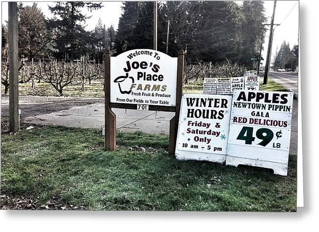 Farm Stand Greeting Cards - Joes Place Farms Greeting Card by Melissa Coffield