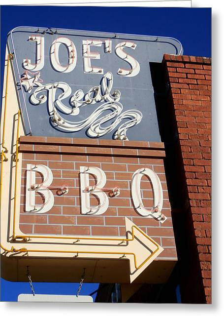 Pulled Pork Barbecue Greeting Cards - Joes Real BBQ Greeting Card by Karyn Robinson