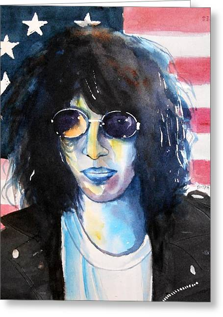 Ramones Greeting Cards - Joey Ramone Greeting Card by Brian Degnon