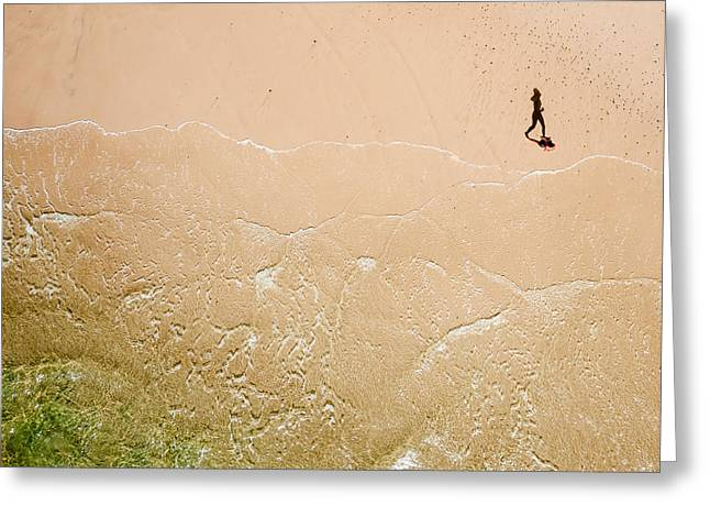 Kite Greeting Cards - Jogger on Tallow Beach. Byron Bay. Australia. Greeting Card by Rob Huntley