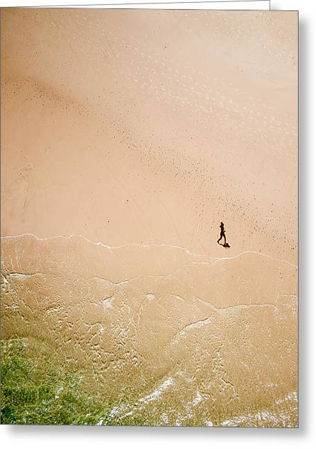 Kite Greeting Cards - Jogger on Tallow Beach  Greeting Card by Rob Huntley