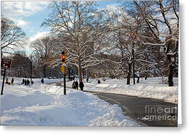 Winter Park Greeting Cards - Joggers Path Greeting Card by Madeline Ellis