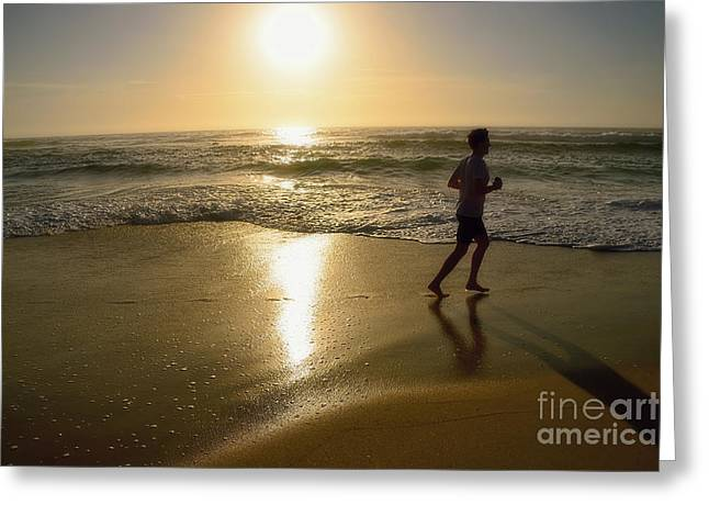 Jogging Greeting Cards - Jogging at Sunrise by Kaye Menner Greeting Card by Kaye Menner