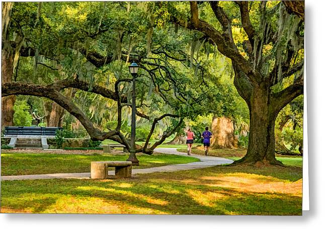 Jogging Greeting Cards - Jogging in City Park Greeting Card by Steve Harrington