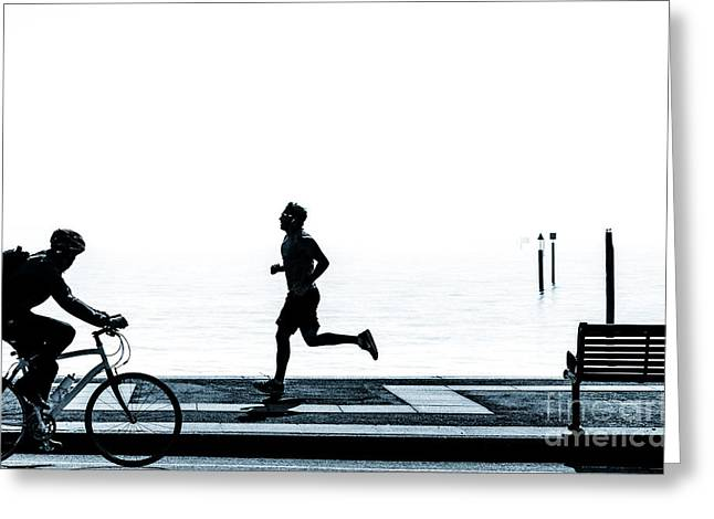 Jogging Greeting Cards - Jogging on the prom. Greeting Card by Peter Noyce