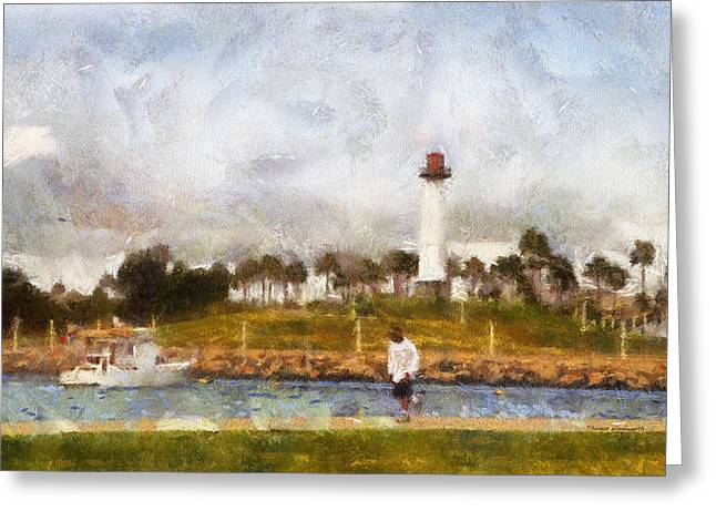 Down Town Los Angeles Greeting Cards - Jogging Past The Lighthouse Photo Art 02 Greeting Card by Thomas Woolworth